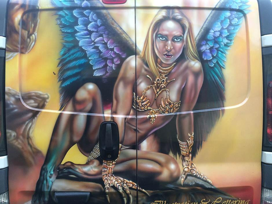 Female Figure on a Van