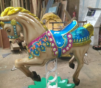 Carousel Horse With A Blue Saddle