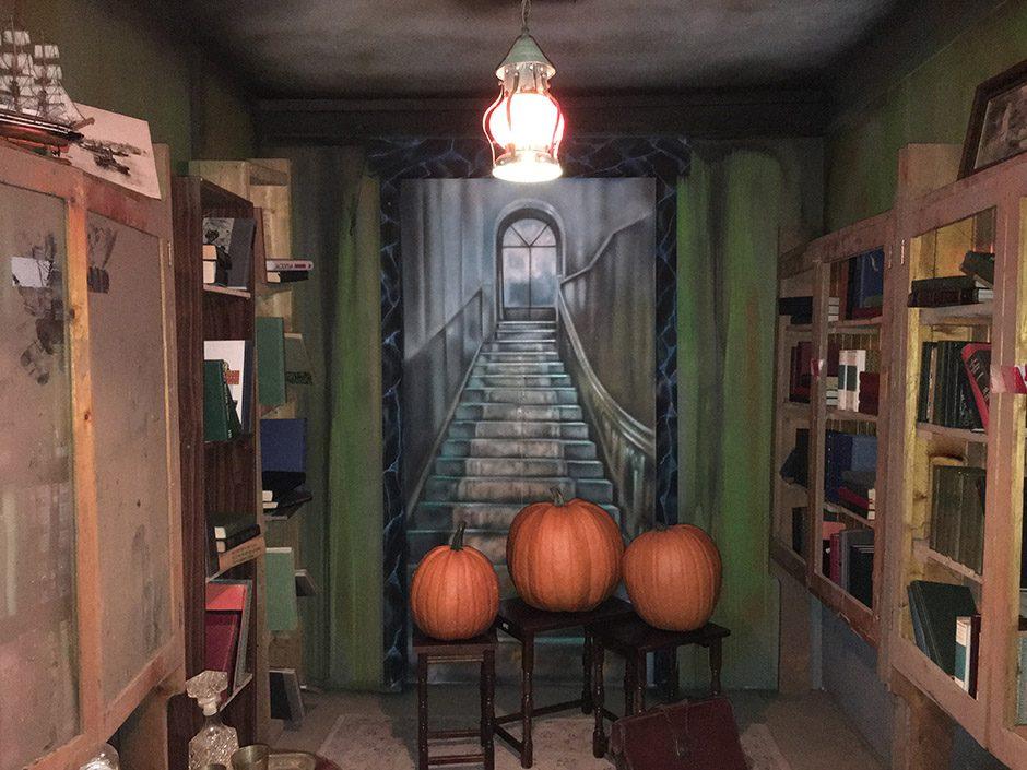 Pumpkins look upstairs