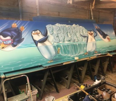 Penguin Splash Mural in Progress